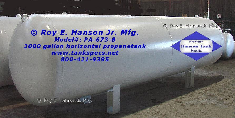 2000 gallon Horizontal Propane Tank - PA-673-B Propane Pressure Tank