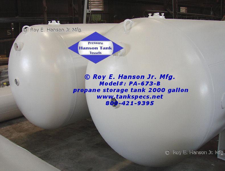 2000 gallon Horizontal Propane Tank - PA-673-B Propane