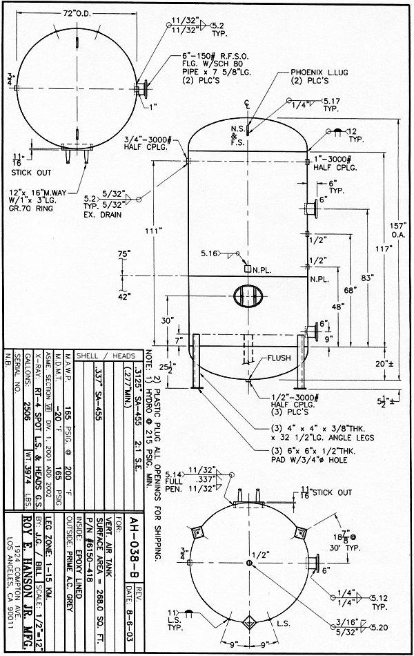 asme air receiver tank carbon steel air receiver cad drawings specs rh tankspecs net Air Receiver Sizing Calculation Instrument Air Receiver Tank 5000