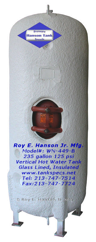 glass lined hot water tank WN-449-B 125 psi vertical hot water tank ...